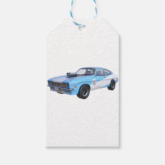 1970's Blue and White Muscle Car Gift Tags