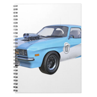 1970's Blue and White Muscle Car Notebook