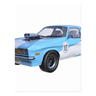 1970's Blue and White Muscle Car Postcard