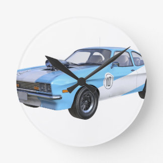 1970's Blue and White Muscle Car Round Clock