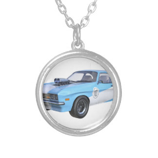 1970's Blue and White Muscle Car Silver Plated Necklace