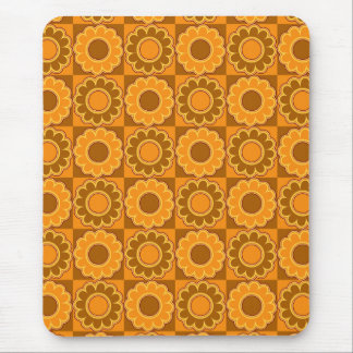 1970s flower power brown and orange retro mouse pad