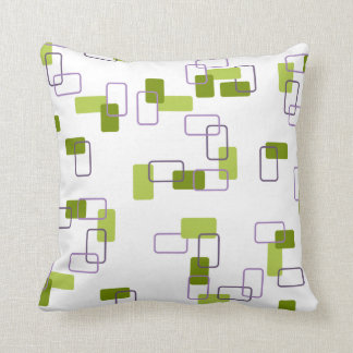 1970's Inspired Retro Geometric Lime Pattern Throw Pillow