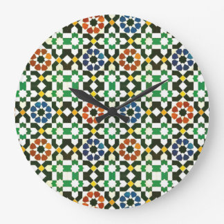 1970s Moroccan Color Pattern Large Clock