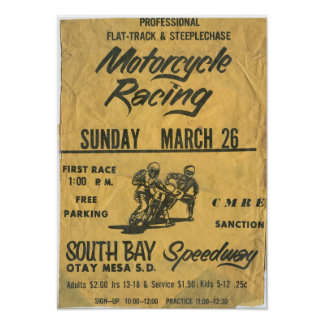 1970s Motorcycle South Bay Speedway Race Poster