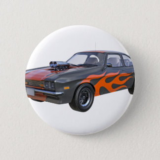 1970's Muscle Car with Orange Flame and Black 2 Inch Round Button