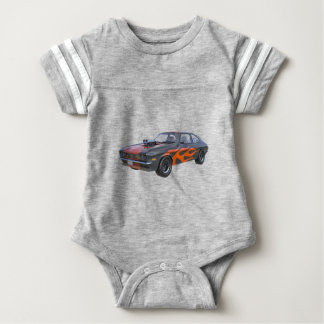 1970's Muscle Car with Orange Flame and Black Baby Bodysuit