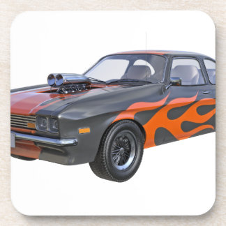 1970's Muscle Car with Orange Flame and Black Beverage Coaster