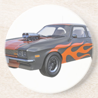 1970's Muscle Car with Orange Flame and Black Beverage Coasters