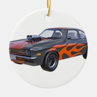 1970's Muscle Car with Orange Flame and Black Ceramic Ornament