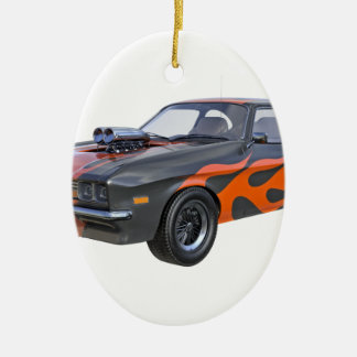 1970's Muscle Car with Orange Flame and Black Ceramic Oval Ornament