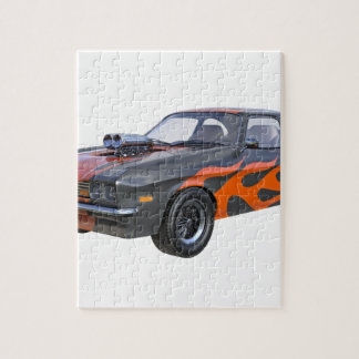 1970's Muscle Car with Orange Flame and Black Jigsaw Puzzle