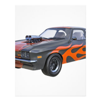 1970's Muscle Car with Orange Flame and Black Letterhead