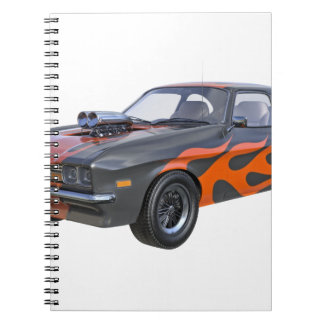 1970's Muscle Car with Orange Flame and Black Notebook