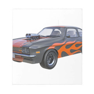 1970's Muscle Car with Orange Flame and Black Notepad