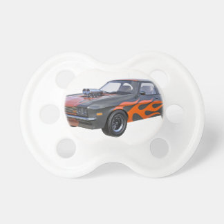 1970's Muscle Car with Orange Flame and Black Pacifier