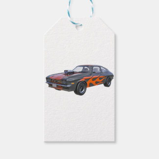 1970's Muscle Car with Orange Flame and Black Pack Of Gift Tags