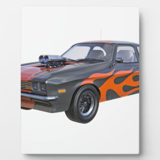 1970's Muscle Car with Orange Flame and Black Plaque