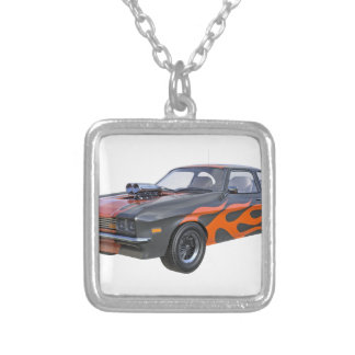 1970's Muscle Car with Orange Flame and Black Silver Plated Necklace