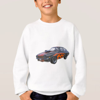 1970's Muscle Car with Orange Flame and Black Sweatshirt