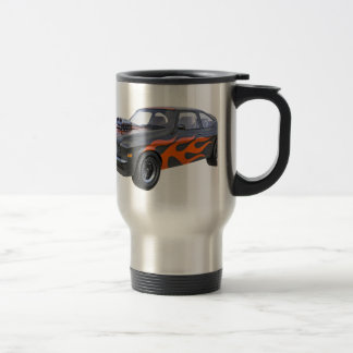 1970's Muscle Car with Orange Flame and Black Travel Mug