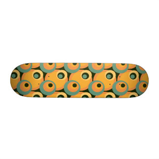 1970s overlapping disco circles yellow and green skate boards