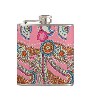 1970's paisley hipster retro vintage hipflask flask