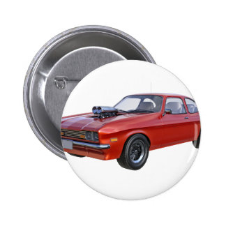 1970's Red Muscle Car 2 Inch Round Button