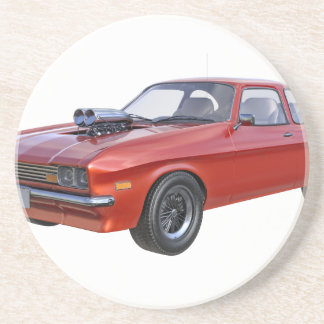 1970's Red Muscle Car Beverage Coaster