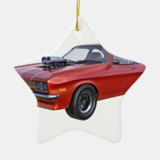 1970's Red Muscle Car Ceramic Ornament