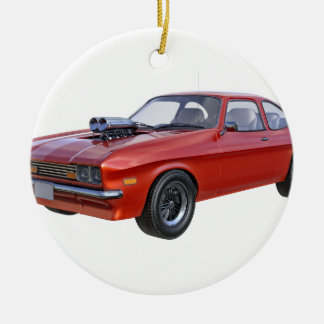 1970's Red Muscle Car Round Ceramic Ornament
