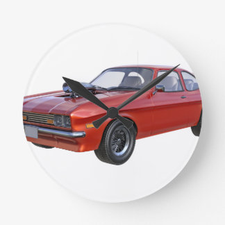 1970's Red Muscle Car Round Clock