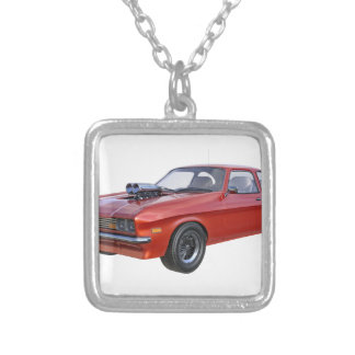 1970's Red Muscle Car Silver Plated Necklace