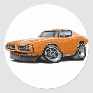 1971-72 Charger Orange Car Classic Round Sticker