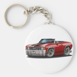 1971-72 Chevelle Maroon-Black Convertible Basic Round Button Keychain
