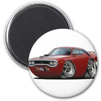 1971-72 Roadrunner Maroon-Black Car 2 Inch Round Magnet