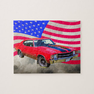 1971 chevrolet Chevelle SS And American Flag Jigsaw Puzzle
