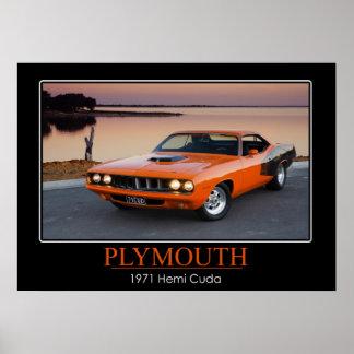 1971 Plymouth Hemi Cuda - Muscle Car Poster