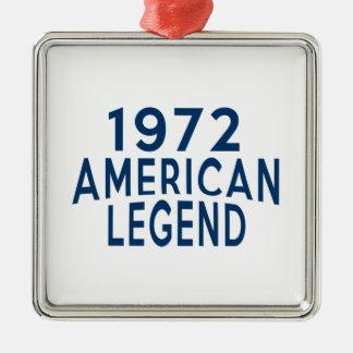 1972 American Legend Birthday Designs Silver-Colored Square Ornament