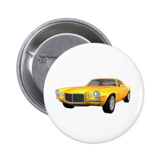 1972 Camaro Z28: Muscle Car: Yellow Finish: 2 Inch Round Button