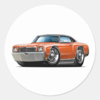 1972 Monte Carlo Orange-Black Top Car Round Sticker