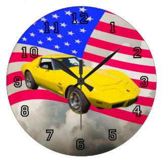 1975 Corvette Stingray With American Flag Clock