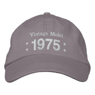 1975 or Any Year 40th Birthday A4P GRAY and WHITE Embroidered Baseball Cap