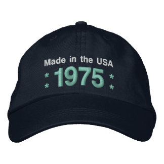 1975 or Any Year 40th Birthday A6P BLACK and TEAL Embroidered Hat
