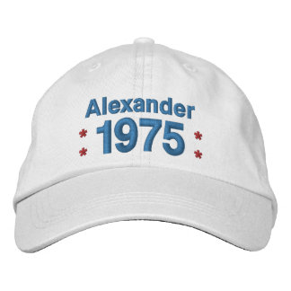 1975 or Any Year 40th Birthday A8P WHITE and BLUE Embroidered Baseball Cap