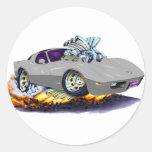 1977-79 Corvette Grey Car Round Stickers