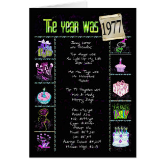 1977 Birthday Year Trivia Card