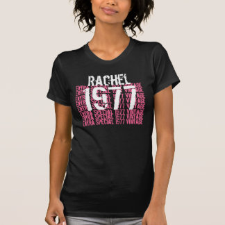 1977 Vintage Birthday Black Pink White Custom Name T-Shirt