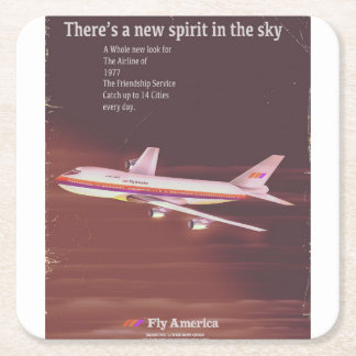 1977 vintage style Airliner poster Square Paper Coaster