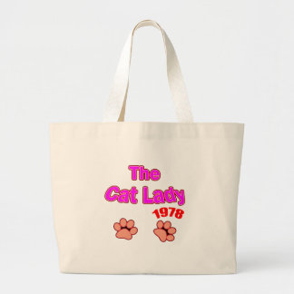 1978 Cat Lady Large Tote Bag